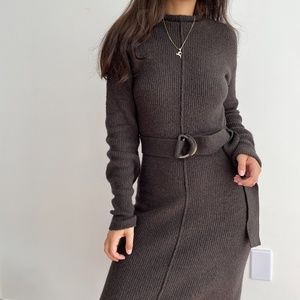 NEW Something navy belted rib knit sweater dress S